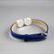 Women's leather bracelet, bronze, blue, flower, floral, adjustable