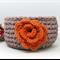 Tan Orange small Crochet Yarn Basket , t shirt Yarn Basket ,