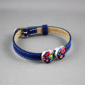 Women's leather bracelet, bronze, blue, flower, floral, adjustable