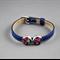 Women's leather bracelet, bronze, black, red, poppy, flower, adjustable