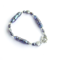 Grey Pearl, Sterling Silver and Hill Tribe Silver Bracelet