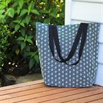 Navy & grey geometric stars Canvas Tote Bag