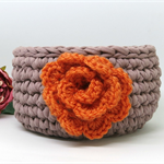 Tan Orange small Crochet Yarn Basket , t shirt Yarn Basket ,