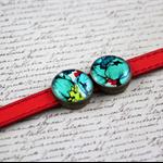 Women's genuine leather bracelet, bronze, red, floral, aqua, adjustable