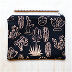 Black & Gold cactus / succulent Zipped Pouch or Pencil case