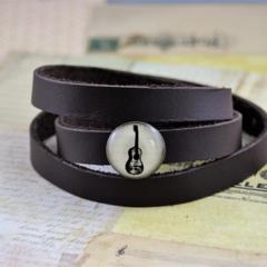 Men's (or women's) triple wrap genuine leather bracelet, bronze, guitar music
