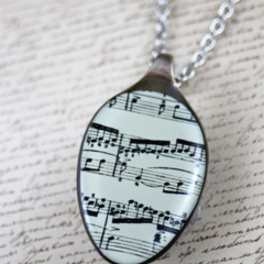 Upcycled/recycled vintage spoon resin pendant necklace sheet music print