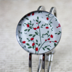 Women's round resin silver cuff bracelet bangle, red, green, flower, print