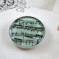 Women's round resin button brooch, sheet music, print badge