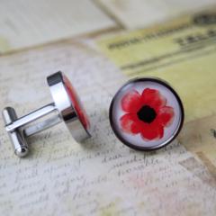 Resin cufflink, stainless steel, red, poppy