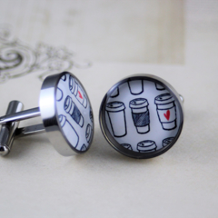Resin cufflink, stainless steel, coffee, cup, morning