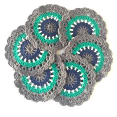Mini Mandala Crochet Coasters - Set of 6 - Teal, Navy and Grey