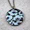 Large round resin women's pendant necklace, white flower art print