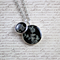 Small round resin women's pendant necklace pair, flower, black print