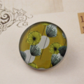 Women's round resin button brooch, abstract floral, print badge