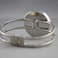 Women's round resin silver cuff bracelet bangle, red, poppy, flower, print