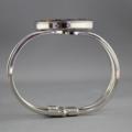 Women's round resin silver cuff bracelet bangle, blue floral, flower, art print