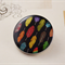 Women's round resin button brooch, colourful, feather, print badge