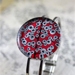 Women's round resin silver cuff bracelet bangle, red, tree, abstract art print
