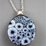 Upcycled/recycled vintage spoon resin pendant necklace abstract ink print