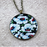 Large round resin women's pendant necklace, white flower art print