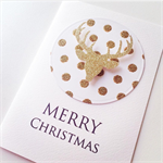 MERRY Christmas sparkle gold glitter reindeer lush polka dots card