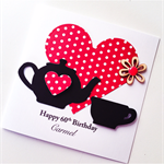 Red polka dots paper happy birthday custom make any age teapot teacup her card