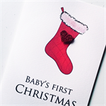 BABY'S first Christmas sparkle red glitter heart christmas stocking card