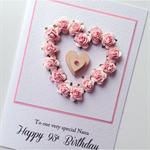Happy Birthday XLARGE custom design roses flowers  heart wooden lasercut card