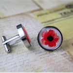 Resin cufflink, stainless steel, red, poppy