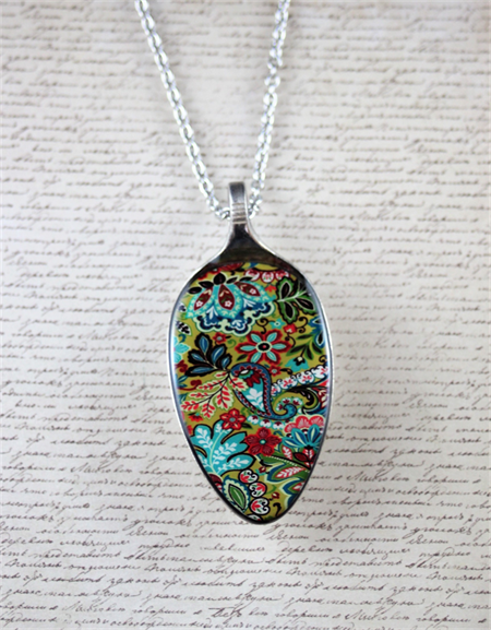 Upcycled/recycled vintage spoon resin pendant necklace abstract floral print