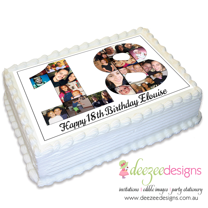 Birthday Photo Collage A4 Edible Icing Cake Topper