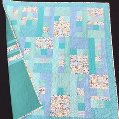 No 71 - Animal alphabet blue/turquoise quilt/play mat