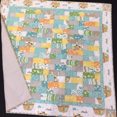 No 67 - Animal quilt/play mat Turquoise/grey 