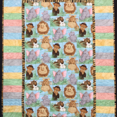 "No 55 - Jungle Baby Multi Panel QUILT/PLAY MAT    45"" x 31.5"""