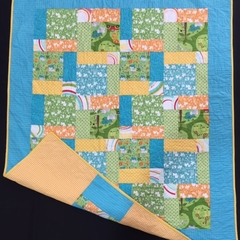 No 63 - African animals split nine patch quilt/play mat