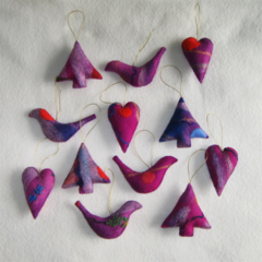 12 Felted Christmas Decorations 4 Trees  4 Hearts 4 Birds