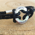 Leather Personalized Bangle, Friendship Bracelet, Hand Stamped Leather Band