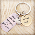 Stepdad Gift, Keychain For Stepdad, Keyring Charm, Hand Stamped Quote