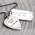 Mens Dog Tag Necklace, Hand Stamped Dad Gift, Guitar Pick Jewellery
