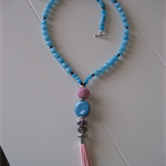 Blue beaded Necklace with Pink Tassel & Bead Feature