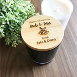 Christmas Gifts - Personalised Engraved Wooden Lid Scented Candles in a Medium O