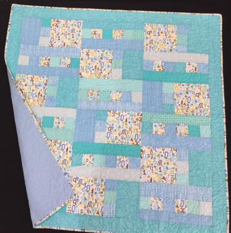 """No. 32 - ABC Blue Quilt/change mat  40"""" x 38"""""""