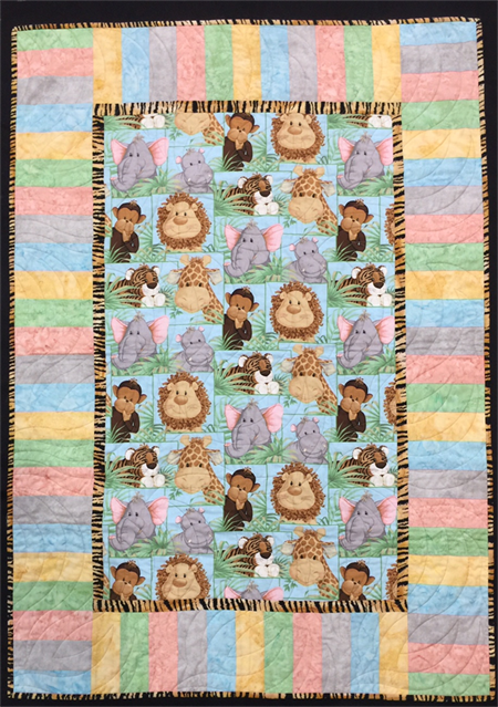"""No 55 - Jungle Baby Multi Panel QUILT/PLAY MAT    45"""" x 31.5"""""""