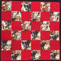 P14 - Red Puppy Quilt change mat