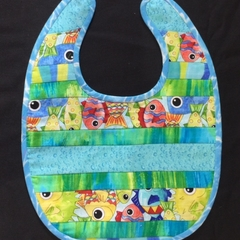 B5 - Blue stripe fish bib with toweling back