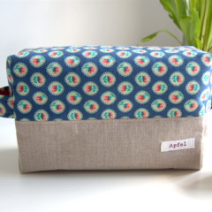 Nappy pouch / Travel pouch / Zippered Pouch- Navy blue flower
