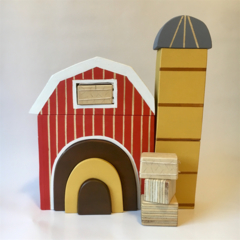Hand painted Wooden Barn stacker with rainbow door, silo & hay bales. (RED)