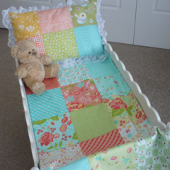 Doll Quilt and Pillow -  Blue & Orange