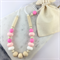 Natural wood and BPA free silicone nursing necklace- white and pink